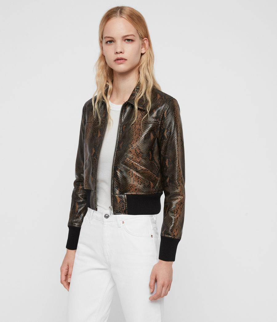 Women's Pascao Oba Leather Bomber Jacket (khaki_green) - Image 3