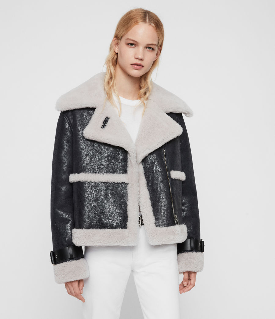 Women's Farley Shearling Jacket (black_ecru_white) - Image 1