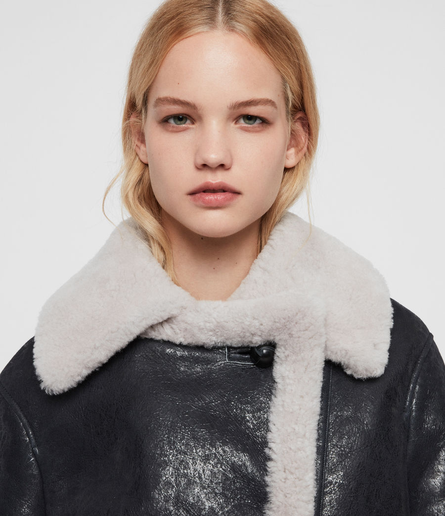 Women's Farley Shearling Jacket (black_ecru_white) - Image 2