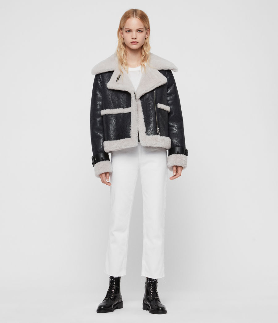 Women's Farley Shearling Jacket (black_ecru_white) - Image 3