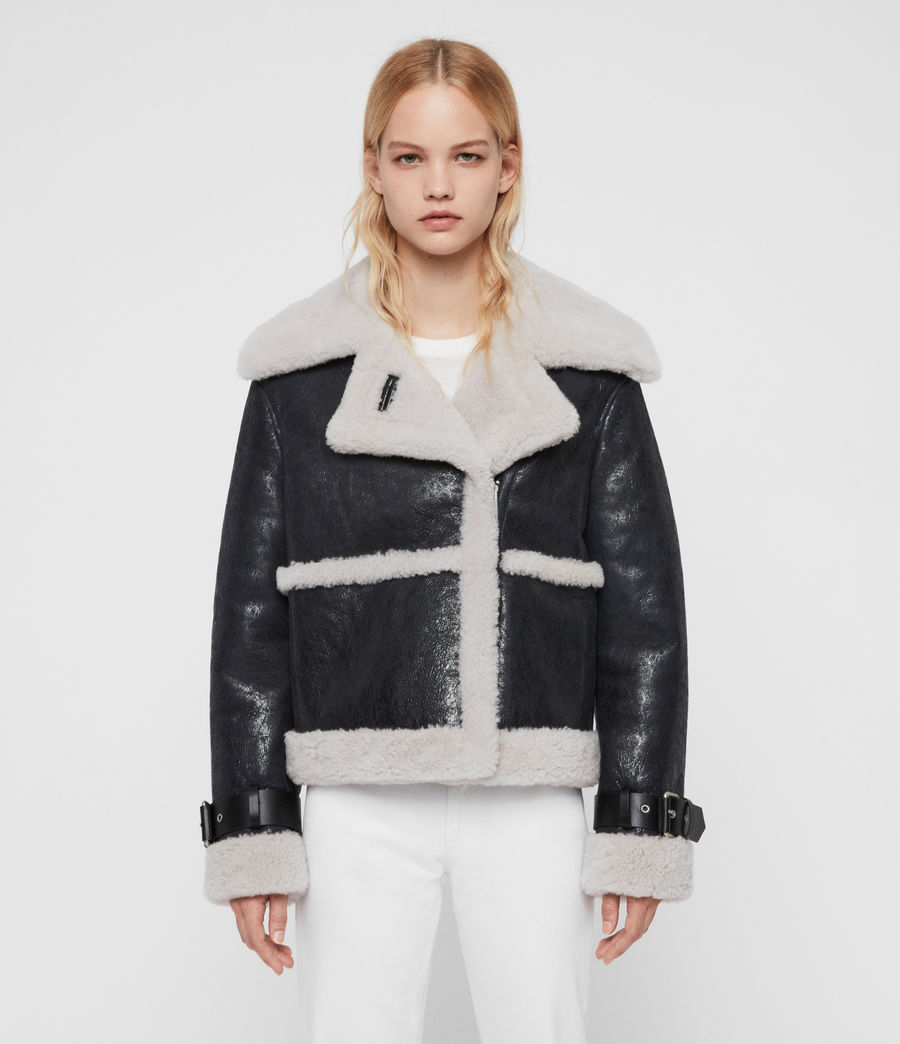 Women's Farley Shearling Jacket (black_ecru_white) - Image 4