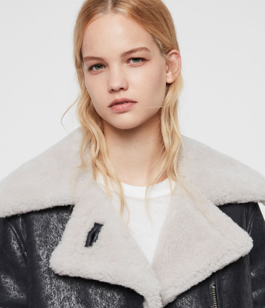 Women's Farley Shearling Jacket (black_ecru_white) - Image 5
