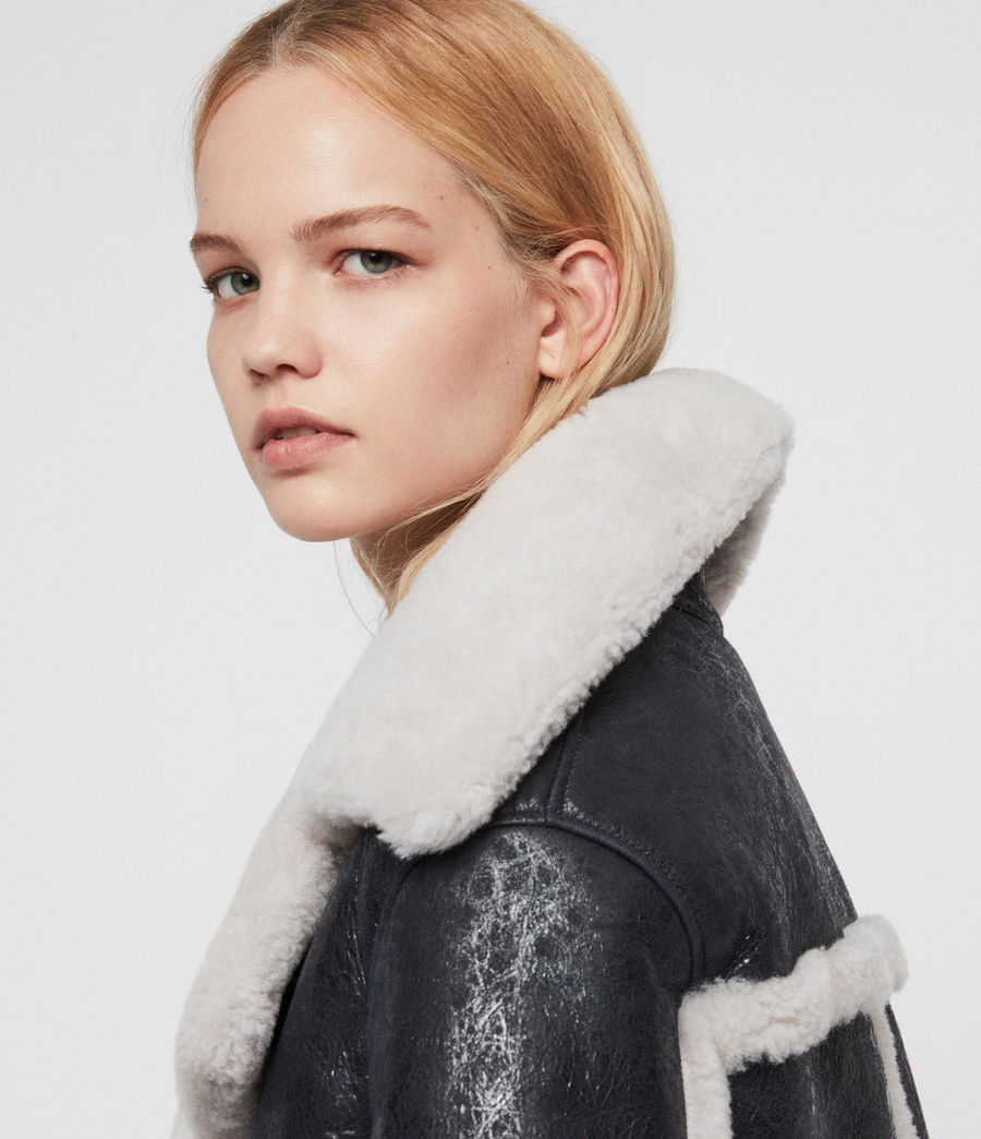 Women's Farley Shearling Jacket (black_ecru_white) - Image 7