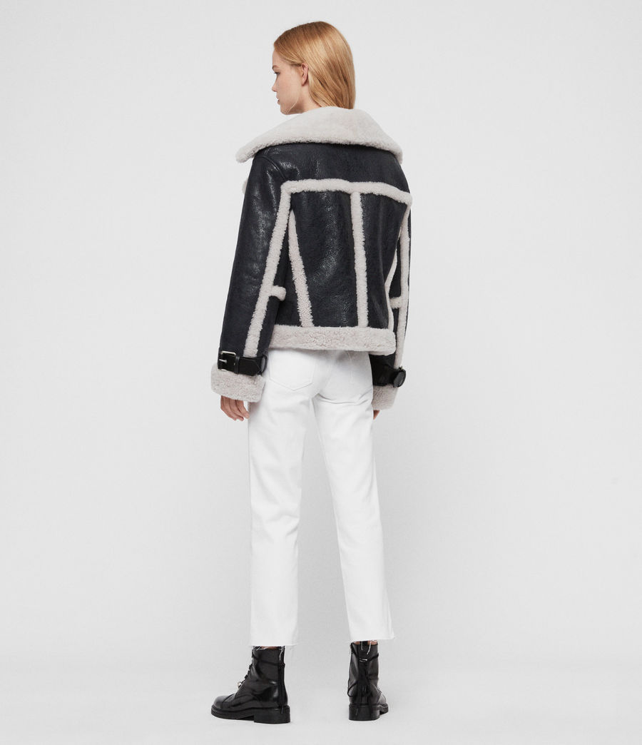 Women's Farley Shearling Jacket (black_ecru_white) - Image 8