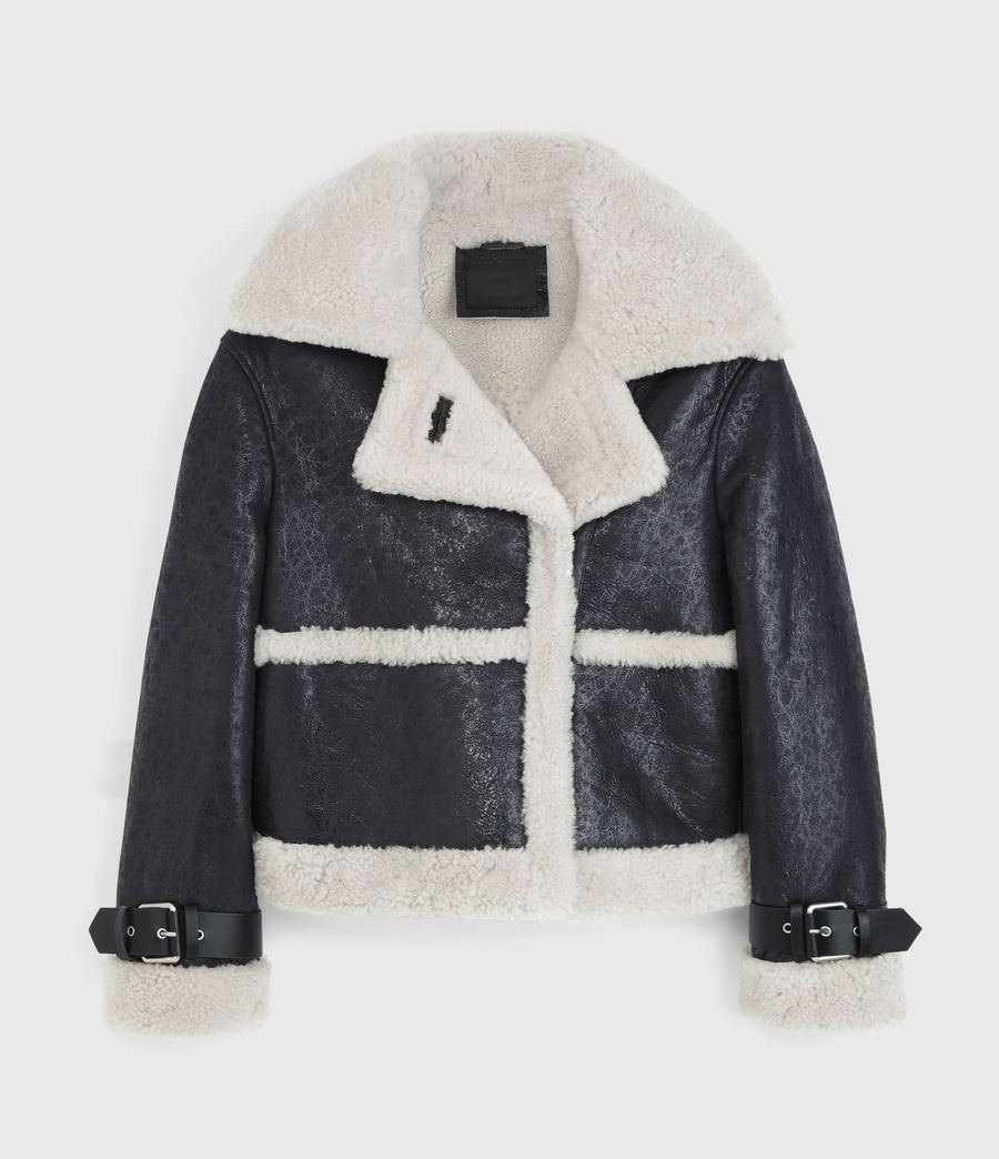 Women's Farley Shearling Jacket (black_ecru_white) - Image 9