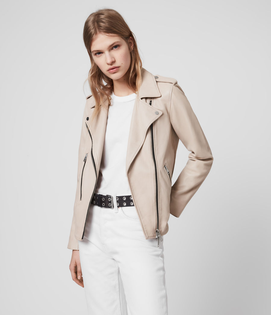 Womens Elva Leather Biker Jacket (pale_pink) - Image 1