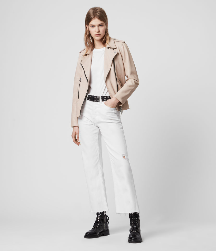 Womens Elva Leather Biker Jacket (pale_pink) - Image 3