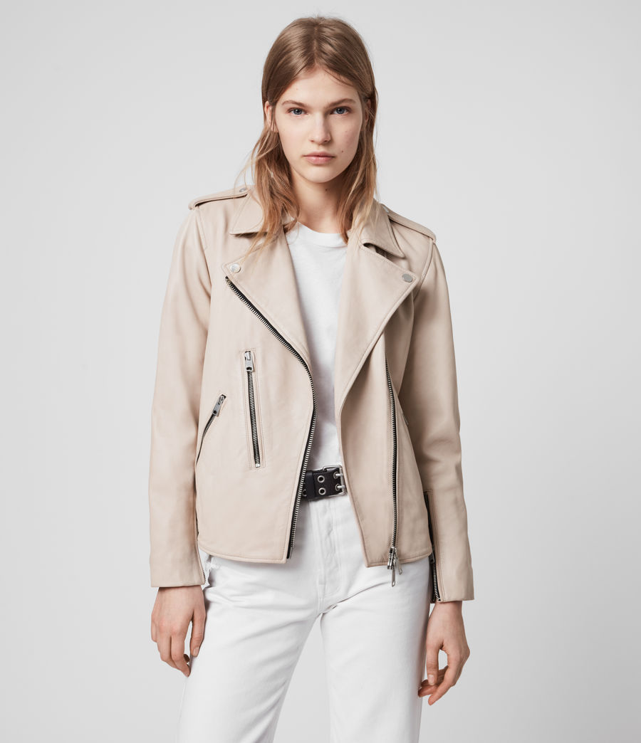 Womens Elva Leather Biker Jacket (pale_pink) - Image 4