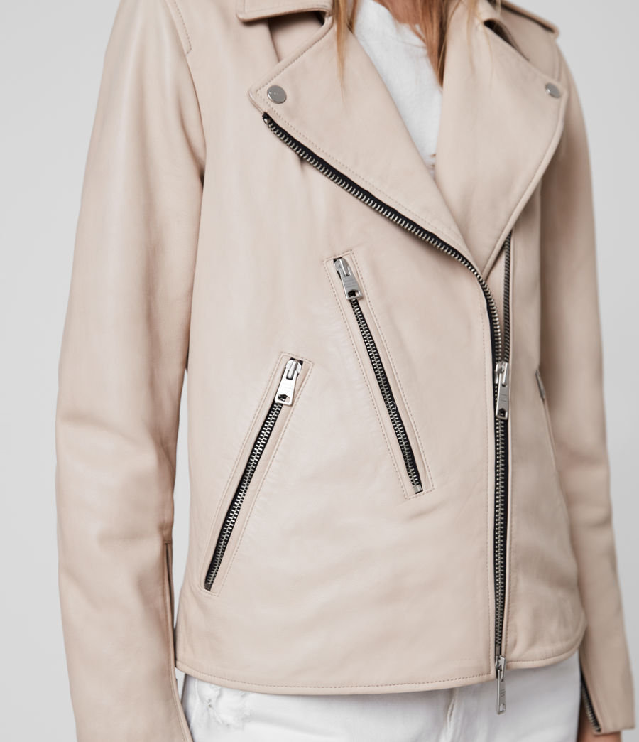Womens Elva Leather Biker Jacket (pale_pink) - Image 5