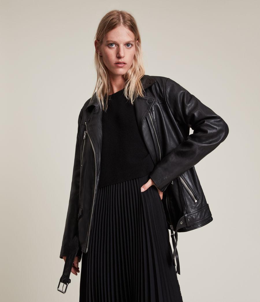 Women's Eline Leather Biker Jacket (black) - Image 1