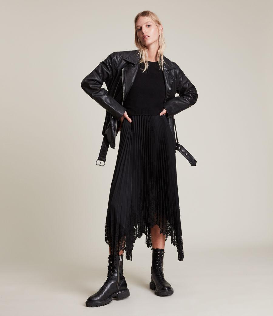 Women's Eline Leather Biker Jacket (black) - Image 2
