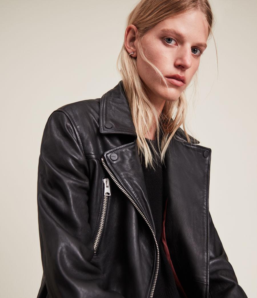 Women's Eline Leather Biker Jacket (black) - Image 3