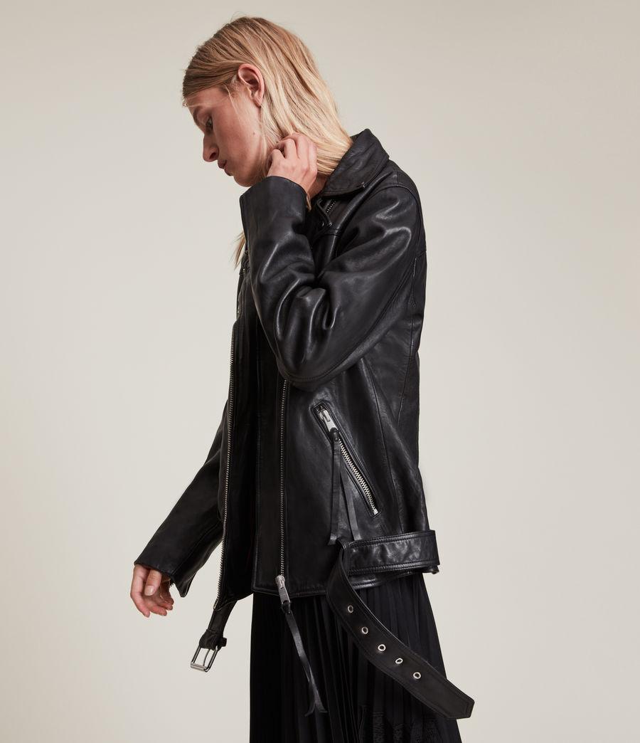 Women's Eline Leather Biker Jacket (black) - Image 4