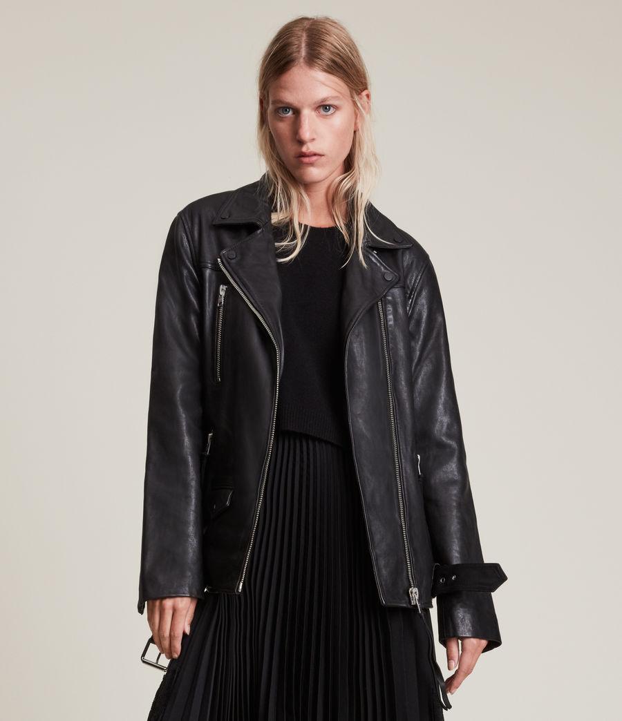 Women's Eline Leather Biker Jacket (black) - Image 5