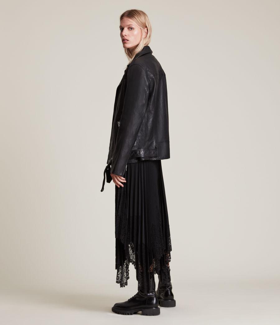 Women's Eline Leather Biker Jacket (black) - Image 6