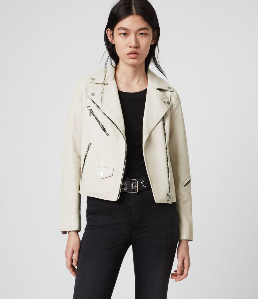 Women's Riley Leather Biker Jacket (white) - Image 2