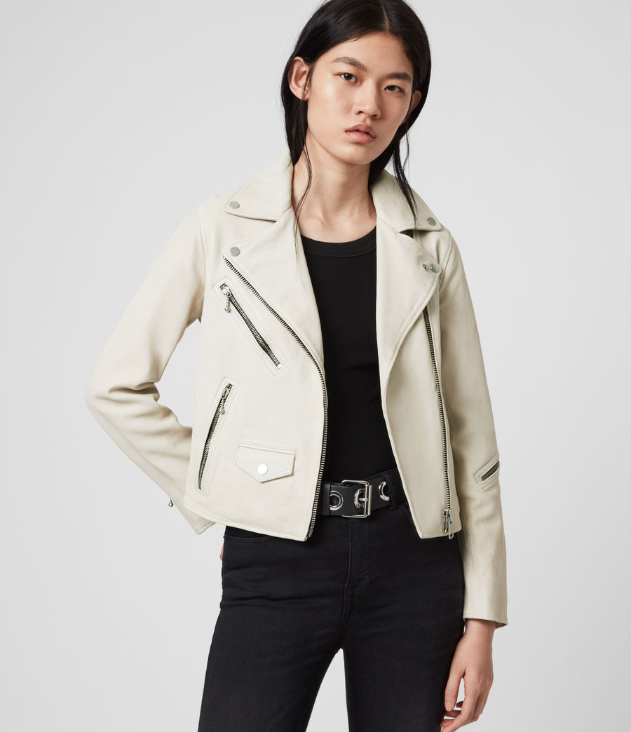 Womens Riley Leather Biker Jacket (white) - Image 4