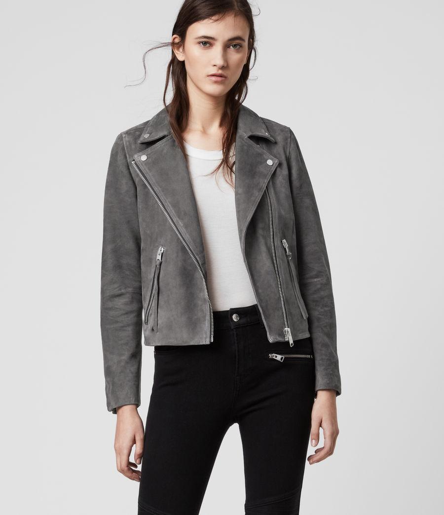 Womens Suede Dalby Biker Jacket (sage_green) - Image 1