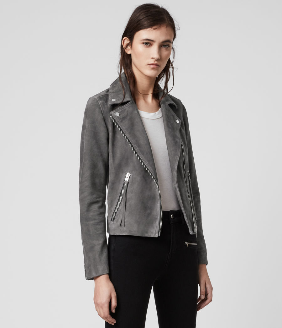 Womens Suede Dalby Biker Jacket (sage_green) - Image 4