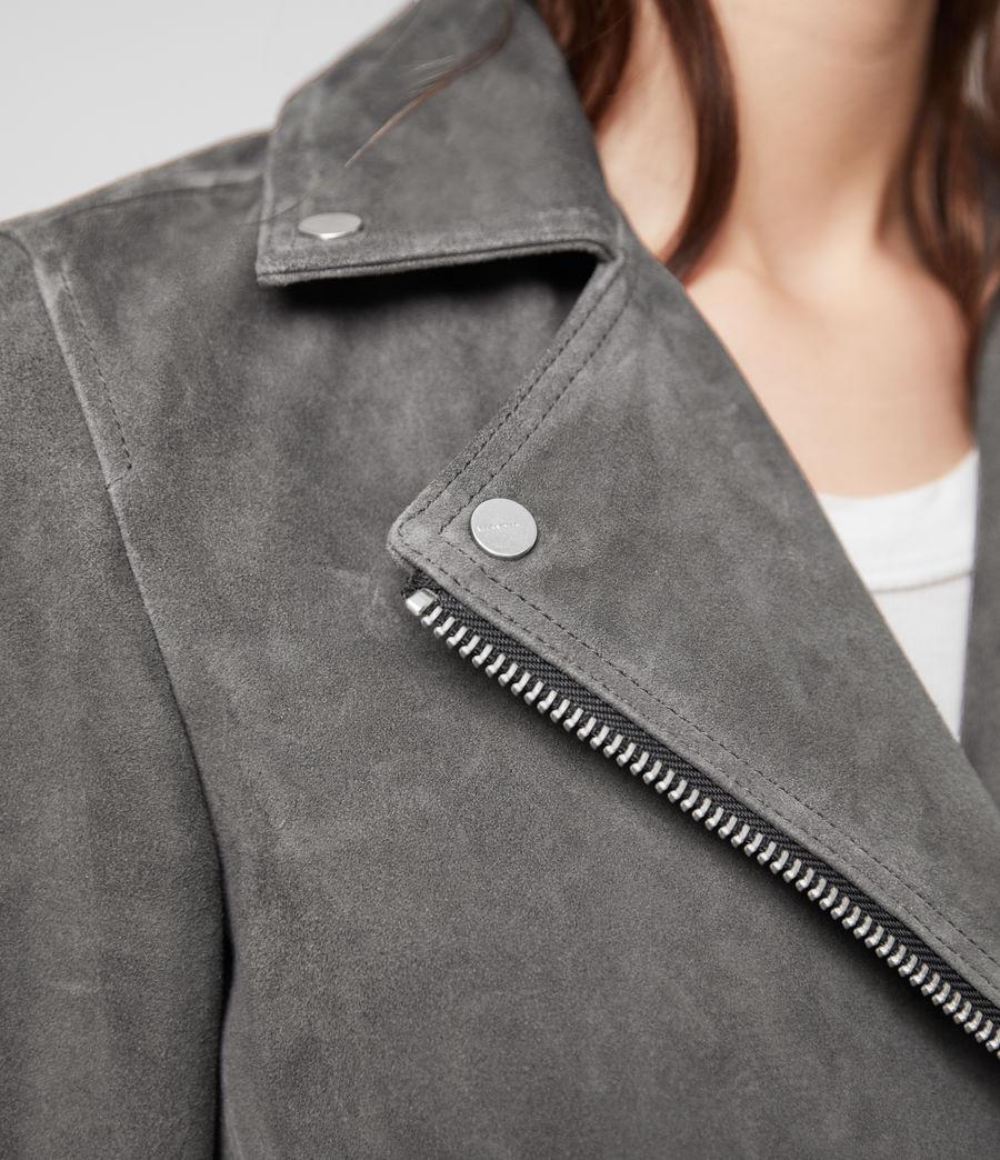 Womens Suede Dalby Biker Jacket (sage_green) - Image 5