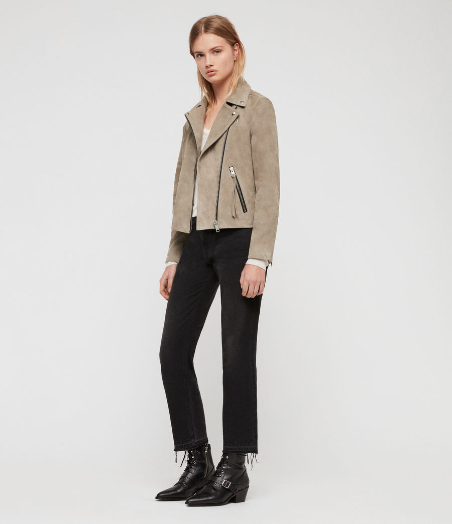 Women's Suede Dalby Biker Jacket (sage_green) - Image 1