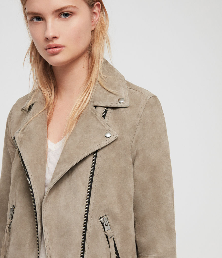 Women's Suede Dalby Biker Jacket (sage_green) - Image 2