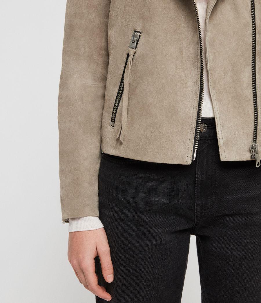 Women's Suede Dalby Biker Jacket (sage_green) - Image 4