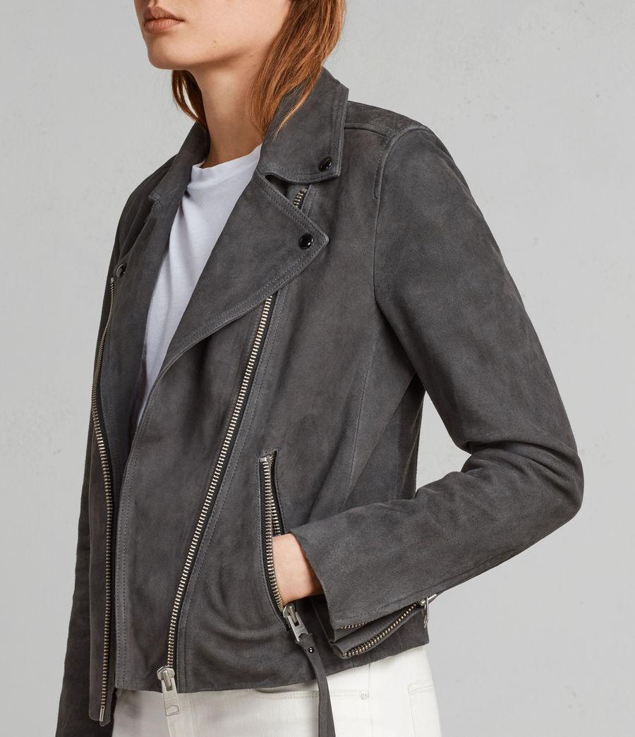 Womens Dalby Suede Biker Jacket (teal_blue) - Image 2