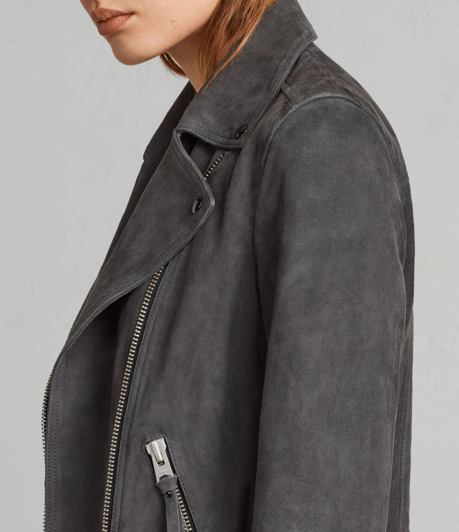 Womens Dalby Suede Biker Jacket (teal_blue) - Image 5