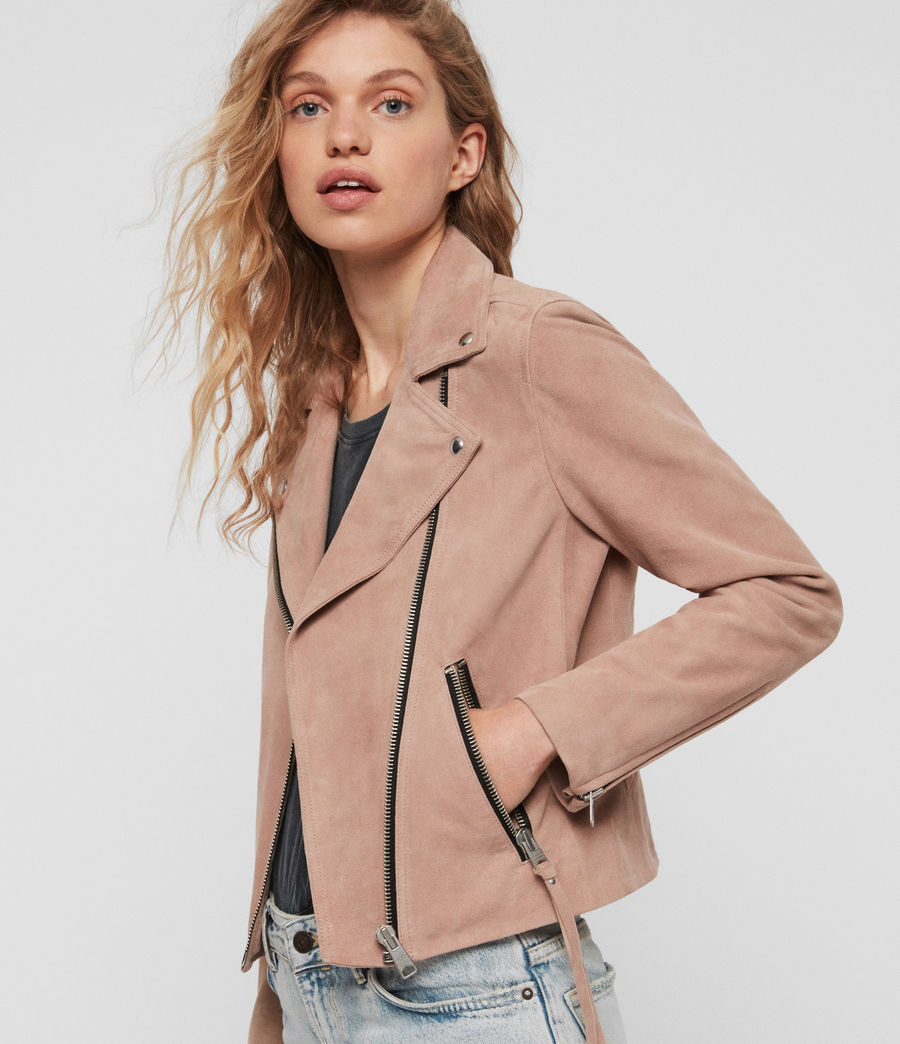 Women's Suede Dalby Biker Jacket (putty_pink) - Image 1