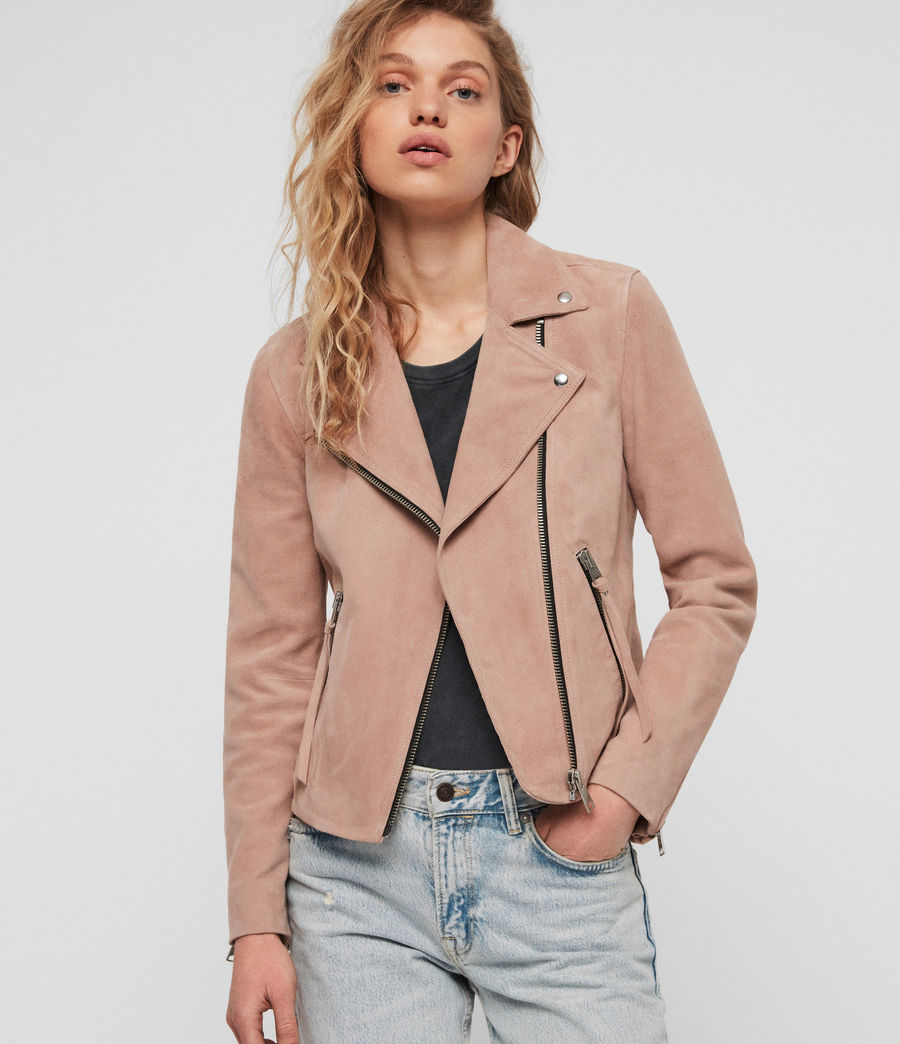 Women's Suede Dalby Biker Jacket (putty_pink) - Image 2