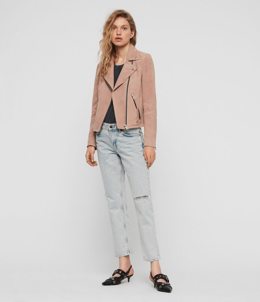 Women's Suede Dalby Biker Jacket (putty_pink) - Image 3