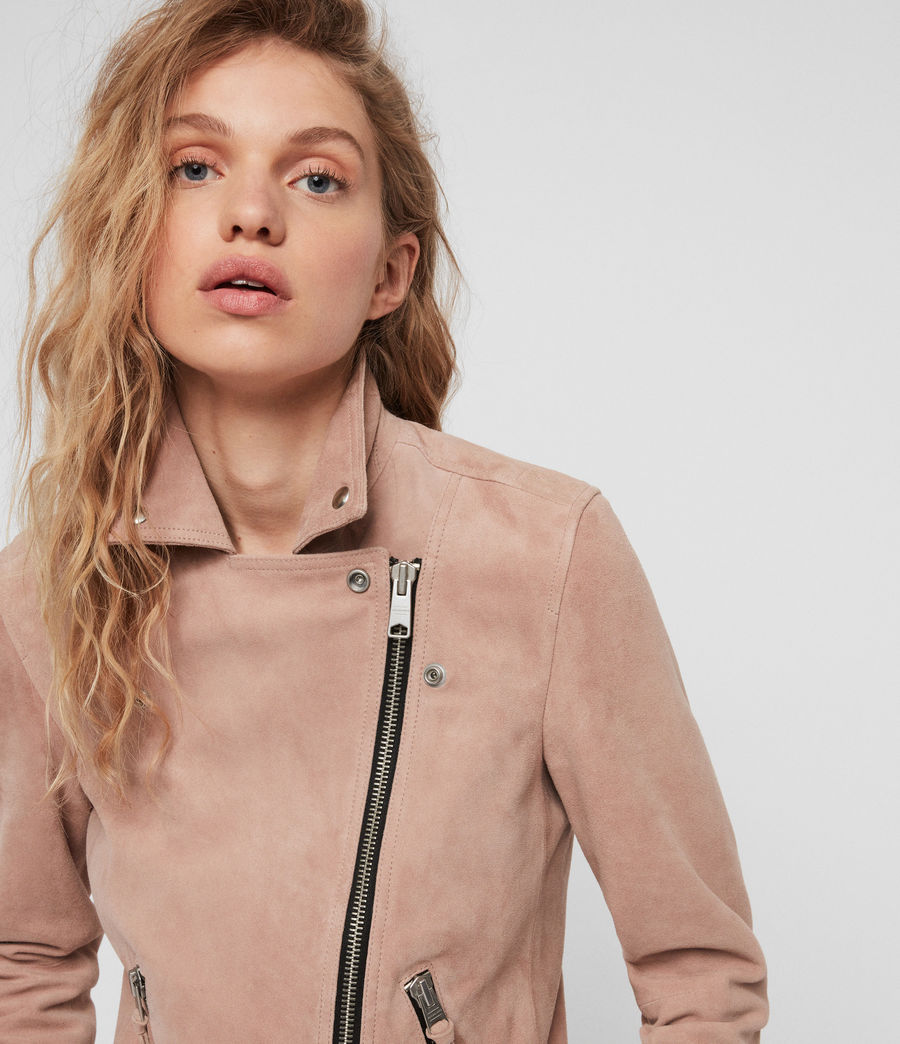 Women's Suede Dalby Biker Jacket (putty_pink) - Image 4