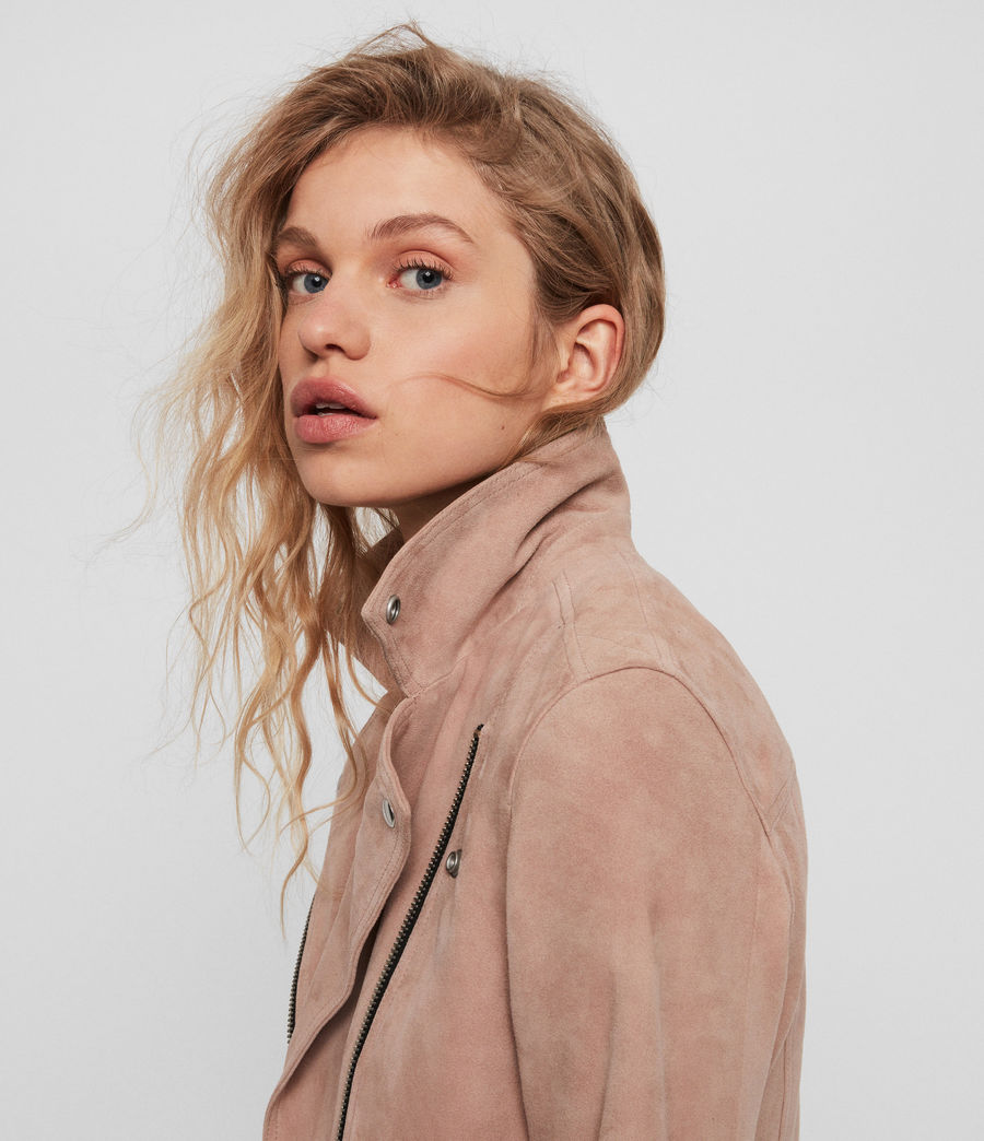 Women's Suede Dalby Biker Jacket (putty_pink) - Image 5