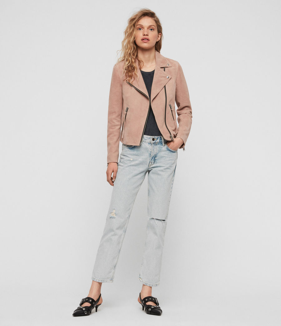 Women's Suede Dalby Biker Jacket (putty_pink) - Image 6