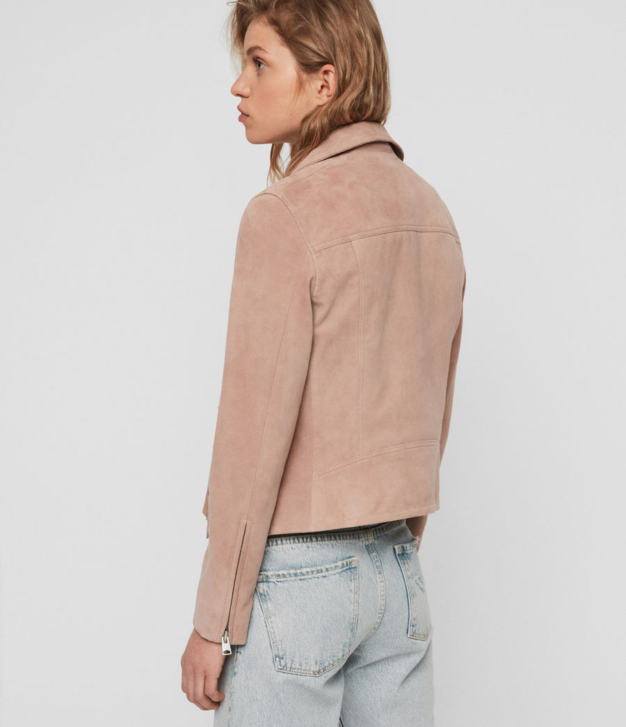 Women's Suede Dalby Biker Jacket (putty_pink) - Image 8