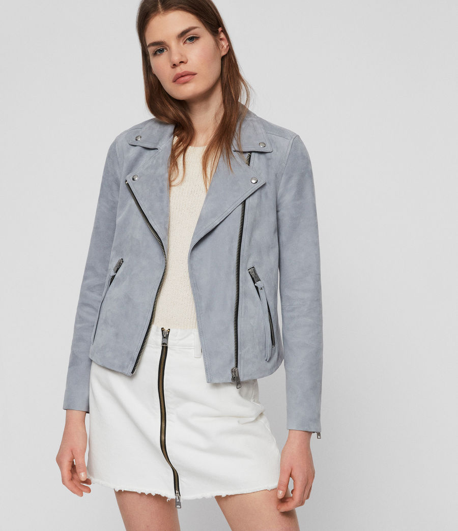 Women's Suede Dalby Biker Jacket (light_blue) - Image 1