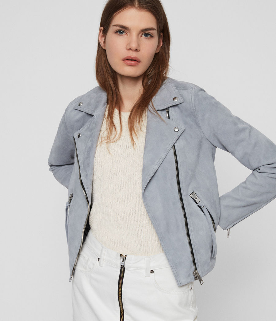 Damen Dalby Wildleder Bikerjacke (light_blue) - Image 2