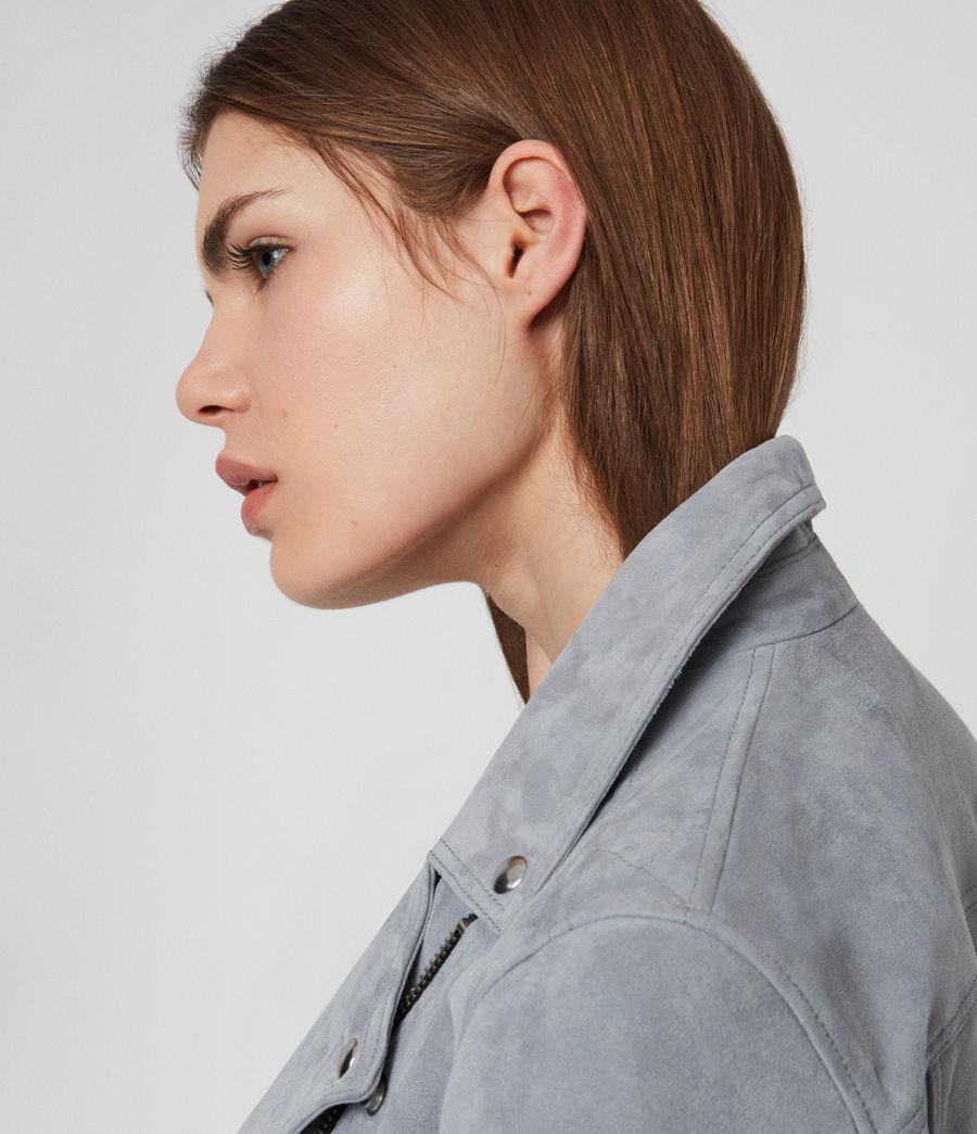 Womens Suede Dalby Biker Jacket (sage_green) - Image 3