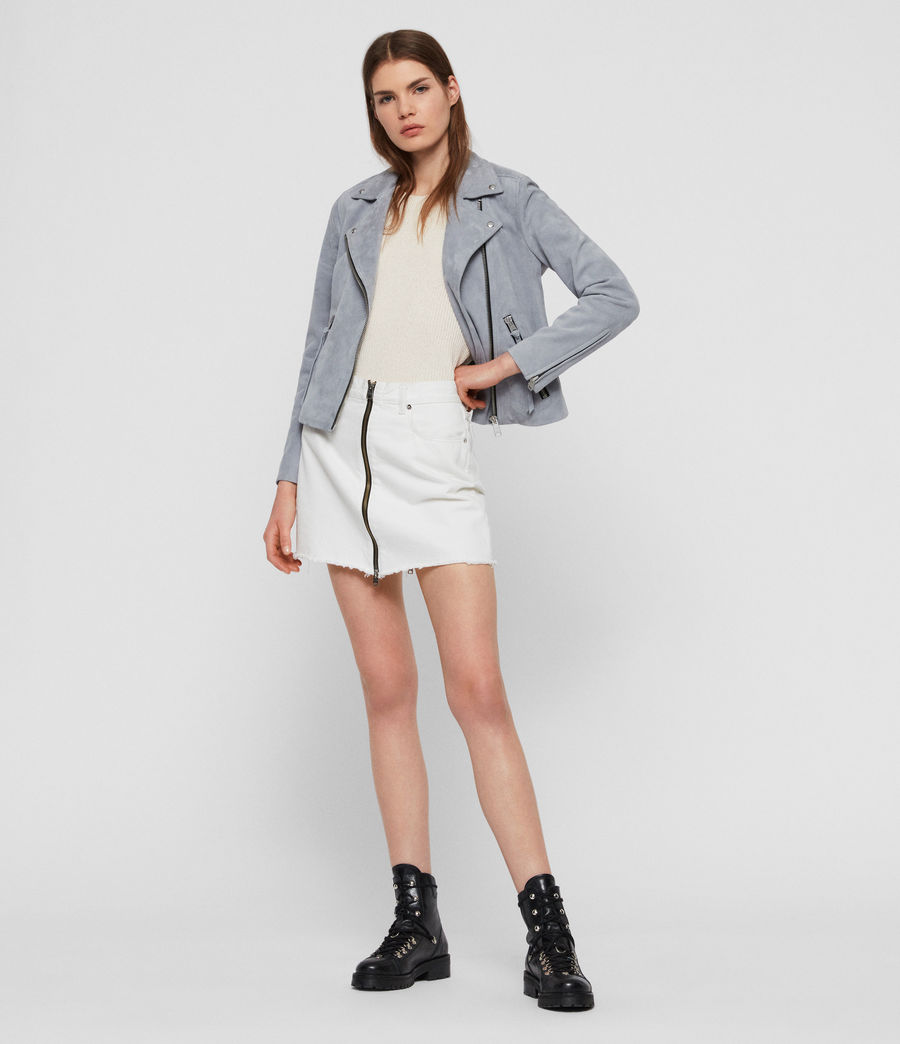 Women's Suede Dalby Biker Jacket (light_blue) - Image 4