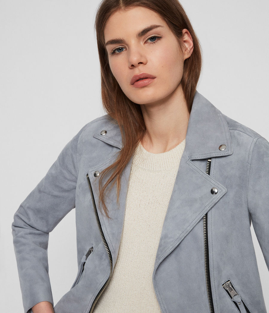 Damen Dalby Wildleder Bikerjacke (light_blue) - Image 5