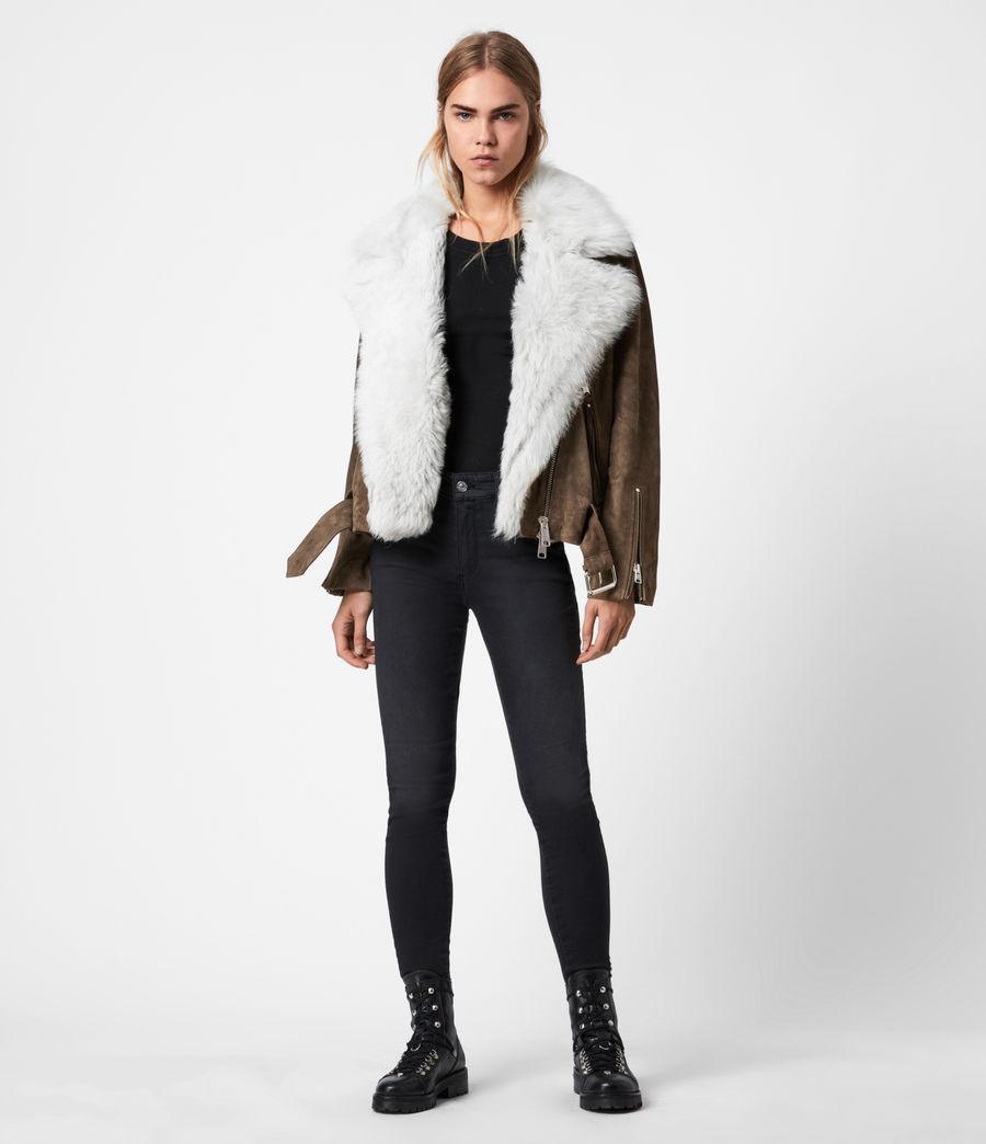 Women's Luna 4-In-1 Shearling Biker Jacket (olive_ecru_white) - Image 7