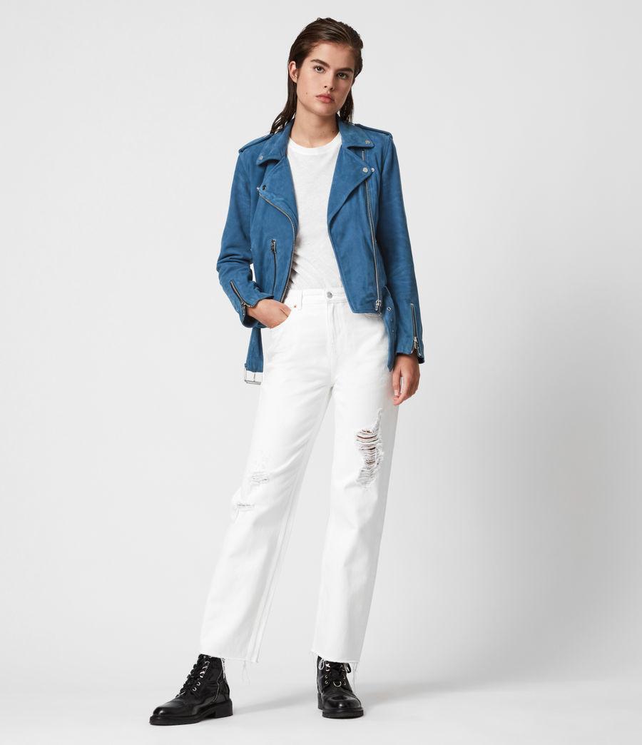 Damen Suede Balfern Biker Jacket (cobalt_blue) - Image 4