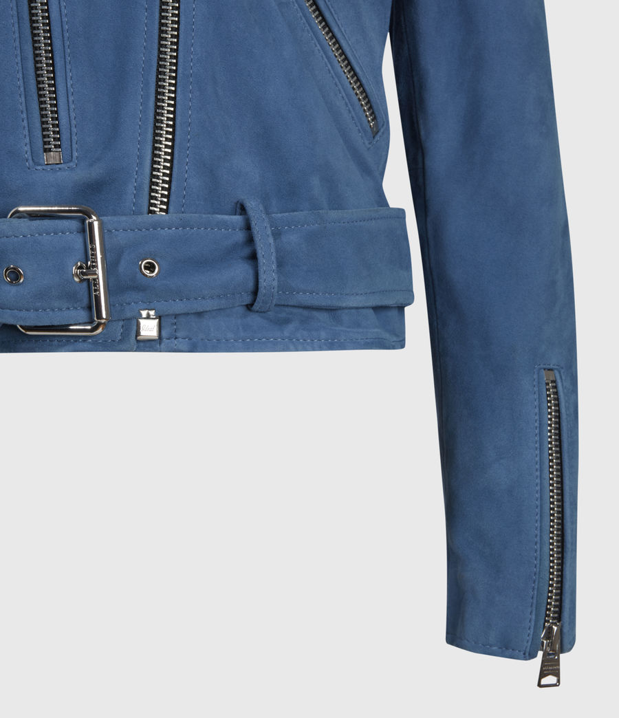 Damen Suede Balfern Biker Jacket (cobalt_blue) - Image 6
