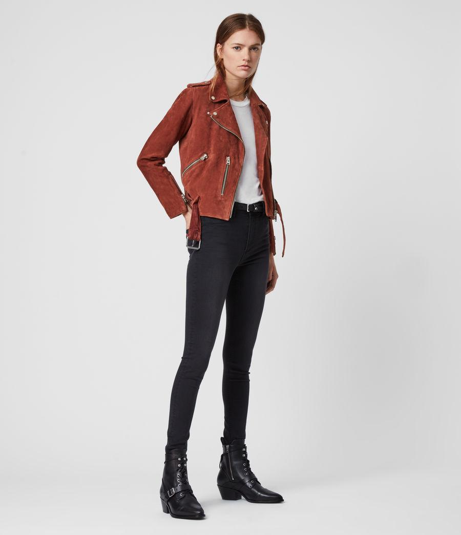 Women's Suede Balfern Biker Jacket (deep_cherry) - Image 1