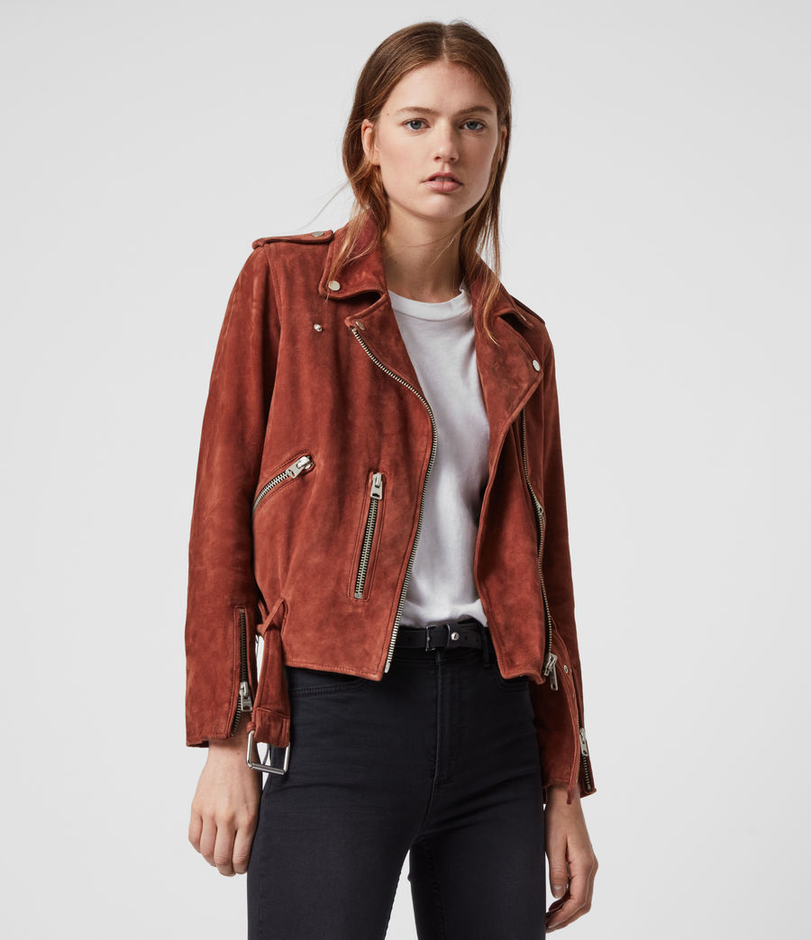 Women's Suede Balfern Biker Jacket (deep_cherry) - Image 2