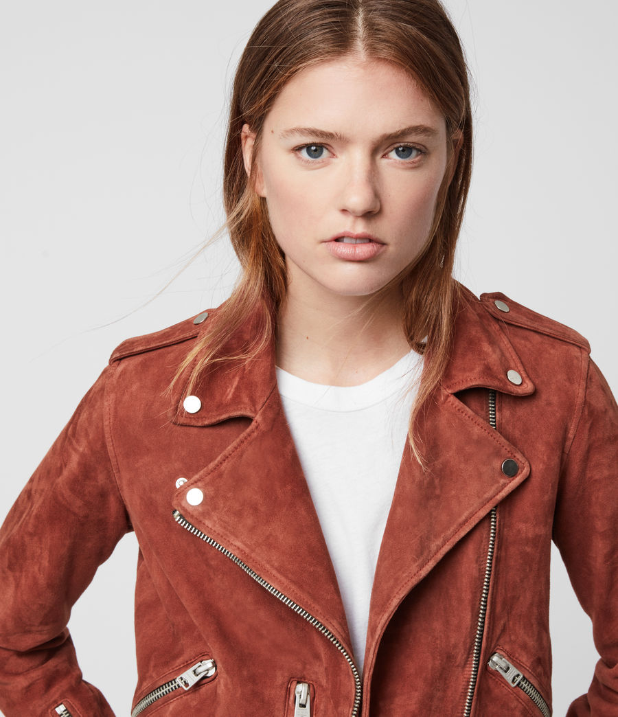 Women's Suede Balfern Biker Jacket (deep_cherry) - Image 3