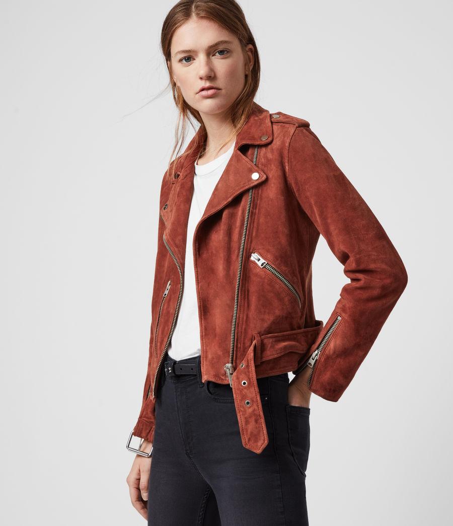 Women's Suede Balfern Biker Jacket (deep_cherry) - Image 4