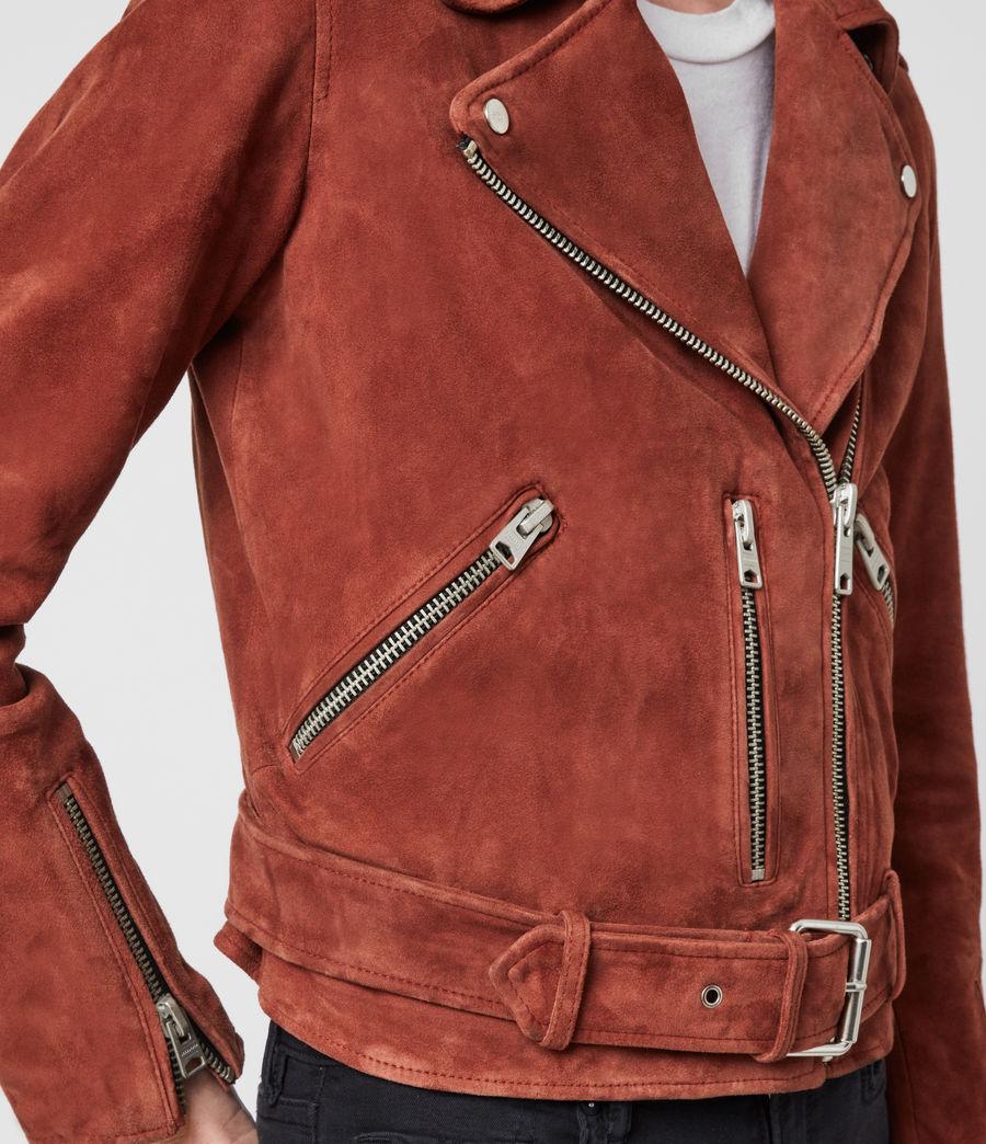 Women's Suede Balfern Biker Jacket (deep_cherry) - Image 5