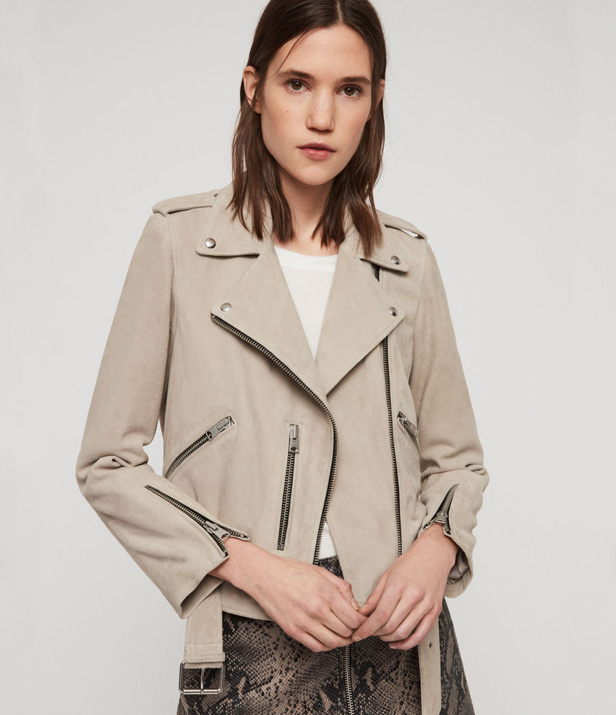 Women's Suede Balfern Biker Jacket (dove_grey) - Image 1